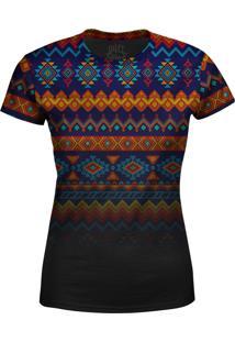 Camiseta Estampada Baby Look Over Fame Tribal Multicolorido