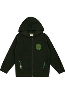 Jaqueta Moletom Infantil Duzizo Bordada Capuz Masculina - Masculino-Verde