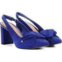 b5a7c352a Scarpin Couro Tanara Salto Médio Slingback - Feminino-Azul
