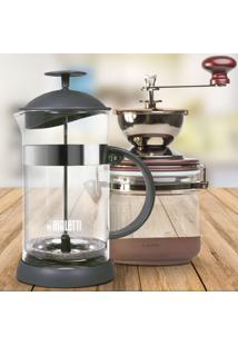 Kit French Press Bialetti Basic Preta 1L E Moedor Hario Canister 120G