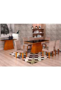 Conjunto De Mesa De Jantar Luna Com Vidro E 6 Cadeiras Ane Suede Amassado Imbuia E Preto