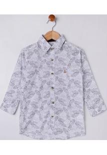 Camisa Manga Longa Estampada Infantil Para Menino - Branco/Azul