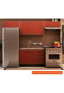 Cozinha Compacta Vitória Ii 7 Pt 3 Gv Vermelha E Avelã