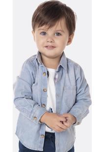 Camisa Jeans Infantil Bebê Menino Com Lavação Tradicional