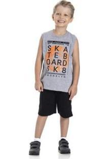 Conjunto Infantil Gueda Kids 2 Peças Menino Skateboard Masculino - Masculino-Cinza Claro