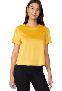Camiseta Amaro Manga Curta Suede Amarelo - Amarelo - Feminino - Dafiti
