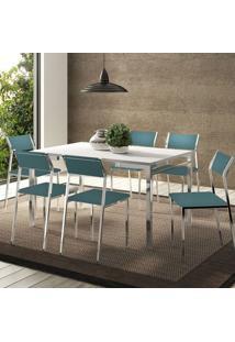 Conjunto Mesa 1526 Branca Cromada Com 6 Cadeiras 1709 Turquesa Carraro