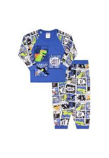 Pijama Bebê Masculino Camiseta Raglan Manga Longa Azul Dino Herói Calça Com Punho (1/2) - Fantoni - Tamanho 2 - Azul Marinho