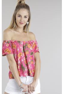 Blusa Ombro A Ombro Estampada Floral Pink