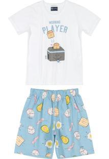 Pijama Curto Pai E Filho Estampado Branco