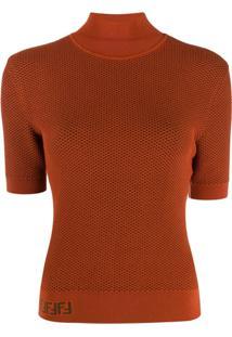 Fendi Suéter Com Logo E Recorte De Tela - Marrom