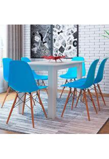 Conjunto De Mesa Cogma Com 6 Cadeiras Eames Base Madeira Branco E Azul