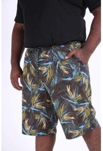 Bermuda Kauê Plus Size Estampada Elastano Masculina - Masculino-Azul