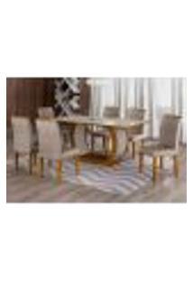 Conjunto De Mesa De Jantar Com Vidro E 6 Cadeiras Maia I Suede Amassado Imbuia E Chocolate
