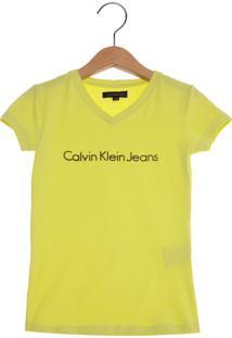Camiseta Calvin Klein Jeans Logo Relevo Infantil Verde