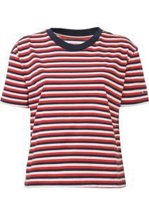 Camiseta Tommy Jeans Listrada Azul-Marinho/Vermelho - Azul Marinho - Feminino - Algodã£O - Dafiti