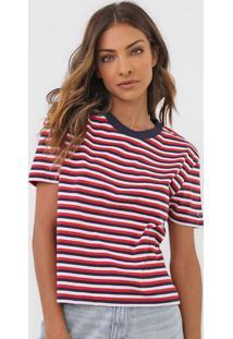 Camiseta Tommy Jeans Listrada Azul-Marinho/Vermelho
