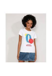 Camiseta Feminina Manga Curta Original Decote Redondo Off White