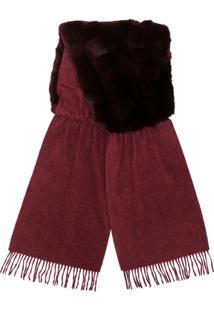 N.Peal Cachecol Contrastante Com Pele De Coelho - Vermelho