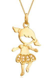 Pingente Menina Bailarina Ouro Amarelo E Diamantes