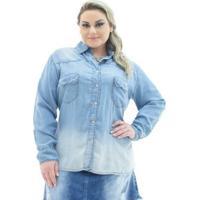 41c73221be Camisa Jeans Confidencial Extra Plus Size Com Bolso Feminina - Feminino-Azul  Claro