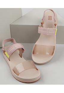 Papete Feminina Zaxy Way Transparente Com Velcro Rosê
