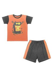 Pijama Juvenil Look Jeans Monstro Curto Laranja/Chumbo