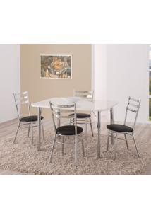 Conjunto De Mesa De Cozinha Retangular Carmin Cromado E Preto