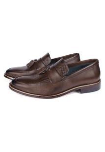 Sapato Masculino Loafer Vulcano Em Couro Café (Solado Em Couro) Savelli