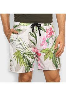 Bermuda Gajang Básica Estampada Masculina - Masculino-Off White