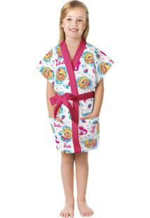 Roupão Felpudo Infantil Verão Estampado Barbie Reinos Mágicos G Com 1 Peça Lepper Pink
