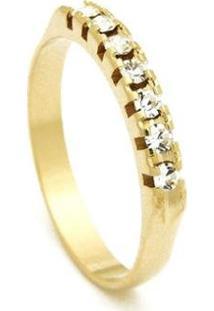Meia Aliança Banhada Ouro 18 K Pedras Cristal - 1010002-Aro Horus Import Feminina - Feminino-Dourado