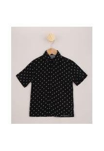 Camisa Infantil Estampada De Raios Manga Curta Preta