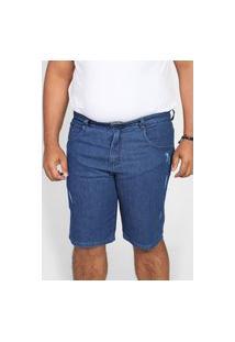 Bermuda Jeans Biotipo Reta Destroyed Azul
