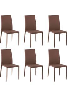 Kit 6 Cadeiras Decorativas Sala E Cozinha Karma Poliã©Ster Cafã© - Gran Belo - Cafã© - Dafiti