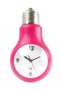 Relógio De Parede Formato Lâmpada Rosa Pink
