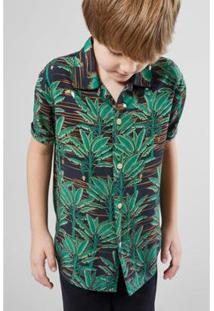 Camisa Infantil Havaiana Paraiso Reserva Mini Masculina - Masculino-Verde