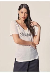 Camiseta Mob Malha Fresh Linho Opposition Feminina - Feminino-Branco
