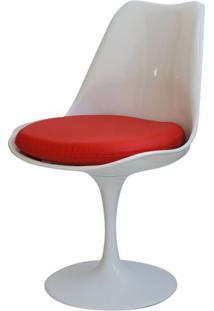 Cadeira Saarinen Branca (Com Almofada Vermelha) - 15049 - Sun House