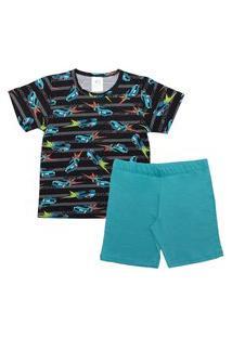 Pijama Infantil Menino Carros Preto