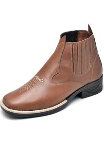 Bota Couro Dr Shoes Elástico Whisky
