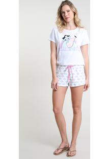 Pijama Feminino Mulan Manga Curta Off White