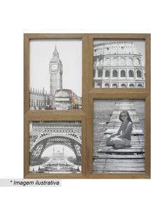 Painel Para 4 Fotos- Marrom- 41X35Cm- Kaposkapos