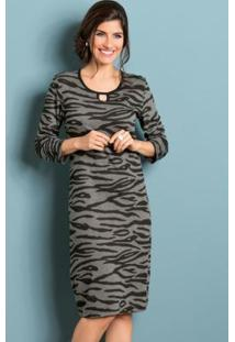 Vestido Zebra Com Gota No Decote Moda Evangélica