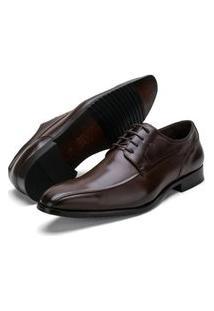 Sapato Social Elegance Fepo Store Couro Espumado Com Cadarço Marrom