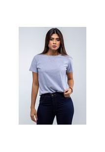 Camiseta T-Shirt Lisa Feminina Gola Redonda Cinza