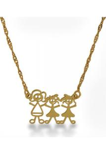 Gargantilha Horus Import Familia Feliz Mãe 2 Meninas Banhada Ouro Amarelo 18K