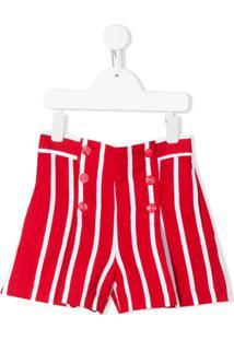 Monnalisa Short Cintura Alta Listrado - Vermelho
