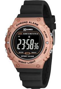 Relógio Digital Quartz Xfppd058Pxpx- Preto & Rosê-X-Orient