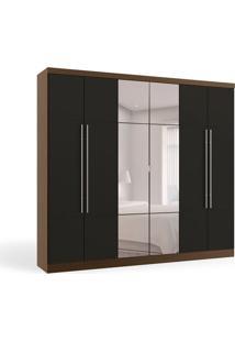 Guarda-Roupa Casal Com Espelho Hera 6 Pt 3 Gv Jacarandá E Preto